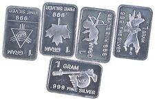 Five Limited Edition 1 Gram .999 Fine Silver 5 Pieces Collection!