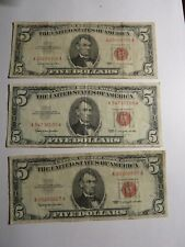 THREE (3) 1963 Five Dollars Bill Red Seal United States of America LOW SHIP