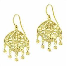 18K Gold over 925 Silver Vintage Filigree Chandelier Earrings