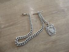 SUPERB ANTIQUE CHUNKY STERLING SILVER DOUBLE  ALBERT POCKET WATCH CHAIN & FOB