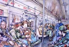 """Subway,NYC"" Limted (1/100) Giclee Art Print Watercolor on Arches by Jeong Park"