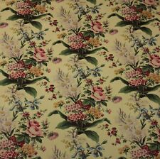 "WAVERLY LUCINDA VINTAGE CORNSILK #D4004 Pink Floral Flower Fabric BY YARD 54""W"