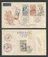 1959 CZECHOSLOVAKIA SCOTT # 921-926 ++ REGISTERED FIRST DAY COVER FDC 2 COVERS