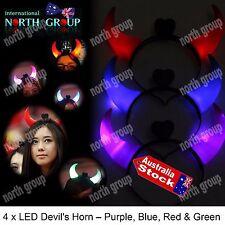 4 PCS RED LED LIGHT FLASHING SATAN DEMON DEVIL HORNS HEADBAND GLOWING COSTUME AC