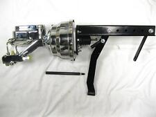 "CHROME 8"" Power Booster Flat Top Master Cylinder + Pedal Bracket Kit Disc Disc"