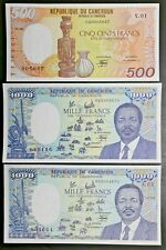 Cameroon Lot of 3 Notes 1985 500 & 1000 Francs , 1986 1000 Francs