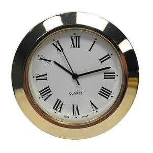 New Quartz Clock Insertion Movement Brass 48mm Diameter Roman Numerals - CM544