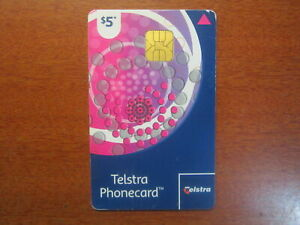 Telstra Phonecard used Card $5 circle pattern chip