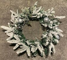 Premier 50cm Holly & Baubles Christmas Wreath PVC Tips with Snowy Effect