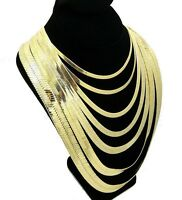 """Herringbone Chain Necklace 14k Gold Plated 4mm to 14mm wide 18"""" 20"""" 24"""" 30"""