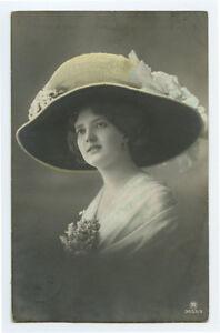 c 1913 Glamour Glamor Pretty LADY in BIG HAT photo postcard
