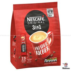 Nescafe Original 3 in1 Rich White Coffee With Sugar Sachets Sticks Long Expiry