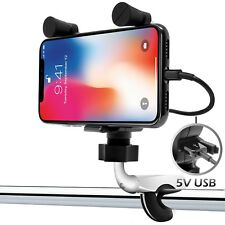 Waterproof Motorcycle Handlebar Cell Phone Holder Mount USB Charger iPhone 7 8 X