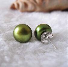 7-8mm Natural Green Akoya Freshwater Pearl 925 Silver Stud Earrings