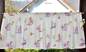 -44 -  Kinderzimmer Scheibengardine Filly Pony-  Gardine Gardinen Schals