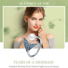 100% 925 Sterling Silver Female Mermaid Tail Adjustable Finger Rings for Women