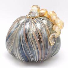 """New 7"""" Hand Blown Art Glass Amber Brown Luster Pumpkin Sculpture Harvest Fall"""