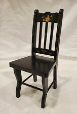 Vintage Small Black Wooden Doll Chair