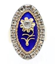A Magnificent Georgian Diamond, Paste & Blue Enamel Flower Ring Circa 1800's