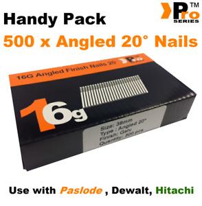 38mm 16 Gauge ANGLED 20° Nails - 500 nail pack for Dewalt ,Paslode ,Hitachi