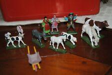 lot personnage, figurine animaux et brouette STARLUX vintage