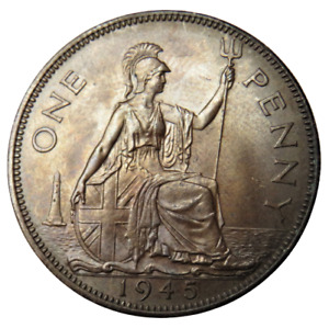 1945 King George VI One Penny Coin - Great Britain - Unc