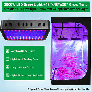 "2000W LED Grow Light Kit Full Spectrum + 48""x48""x80"" Indoor Grow Tents Room Box"