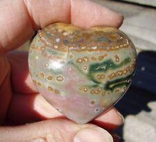 "Ocean Jasper HEART Orbicular Sea  92g Polished Stunning Colours 52mm 2""  (S0033)"
