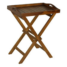 Removable Tray Top Serving Table Folding Stand Side Wood RV Patio In Out Door