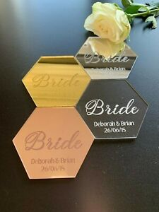 Hexagon Table Place Name, Acrylic, Personalised Name Setting