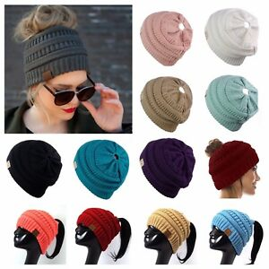 CC Beanie Ponytail Plain Fashion Casual Hats Bubble Knit Slouch Winter Hat Ski