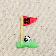 Small/Mini 19th Hole Golf/Green/Red Flag/Ball Iron on Applique/Embroidered Patch