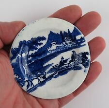 C&H late Hackwood  miniature pearlware plate. Blue and White Transferware.