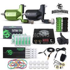 Dragonhawk Tattoo Kit 2 Rotary Gun Power Supply Needles Foot Pedal Grips Tips