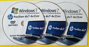 HP Pavilion dv7-6c21nr Factory Recovery Media 3-Discs Set / Windows 7 Home 64bit