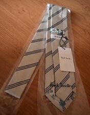 "Paul Smith TAUPE Tie With Black Stripe ""MAINLINE"" 8cm Blade Made in Italy"