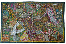 INDIAN Tapestry Green Wall Hanging Table Cover Recycled Sari Lace Embroidery