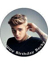 "7.5"" Justin Bieber Personalised Edible PRE-CUT ICING DISC Paper Cake Topper"