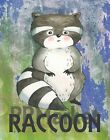 Nursery Wall Art, baby nursery print, Raccoon Print  Woodland Animal Print 8x10