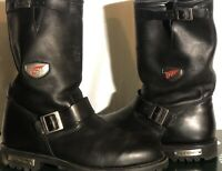 Red Wing 970 Black Leather Motorcycle Engineering Boots Size 12 EE VIBRAM SOLE