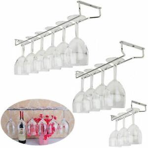 Bar Kitchen Wine Glass Hanger Holder Under Cabinet Shelf Stemware Storage Rack