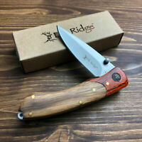 Elk Ridge Rich Wood Handle Gentlemans Folding Linerlock Pocket Knife ER-301