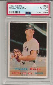1957 TOPPS #189 WILLARD NIXON, PSA 6 EX-MT, BOSTON RED SOX, L@@K