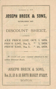VINTAGE 1878 JOSEPH BRECK & SONS DISCOUNT SHEET! SAVE ON AXES, HATCHETS, SAWS ++