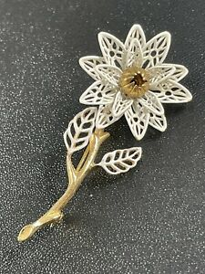 """Vintage Brooch Pin 2.5"""" White Gold Tone Flower"""