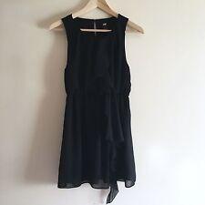 Black H&M Ruffle Front Dress. UK 10. (Sleeveless)
