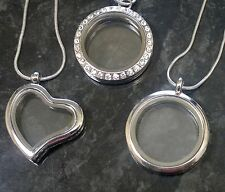"""Living Memory Floating Charm Locket & 16"""" Necklace Heart, Circle or Crystal 30mm"""