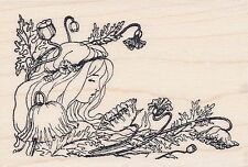 "Lady in flowers  Hampton Art RUBBER STAMP  2 3/4"" x 2""   w/m  Free Shipping  NEW"