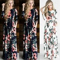 Women's Floral Print Long Sleeve Boho Dress Ladies Evening Party Long Maxi Dress