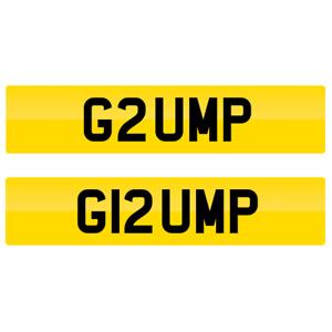 GRUMP Pair of Private Number Plates G2UMP & G12UMP Short word grumpy fast